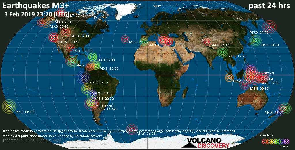 World map showing earthquakes above magnitude 3 during the past 24 hours on  3 Feb 2019
