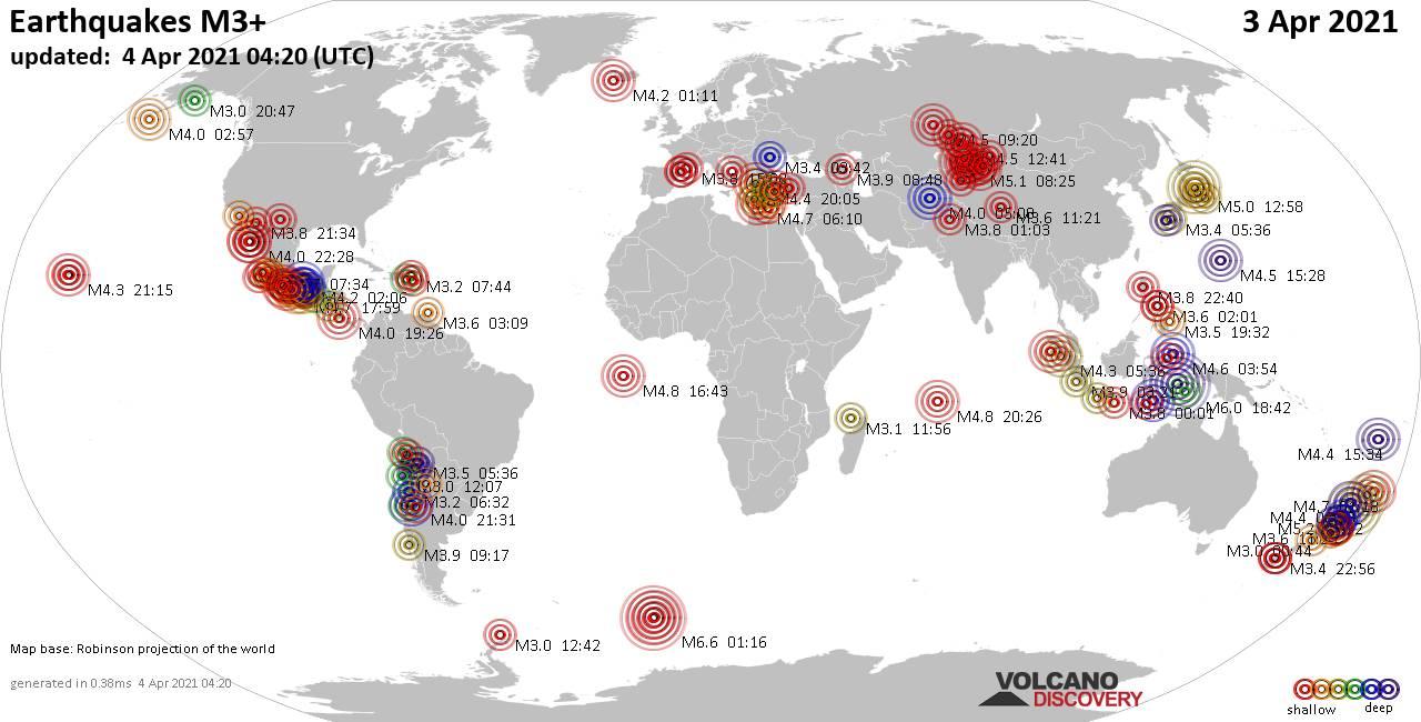 Más de 3 terremotos globales en las últimas 24 horas el 4 de abril de 2021