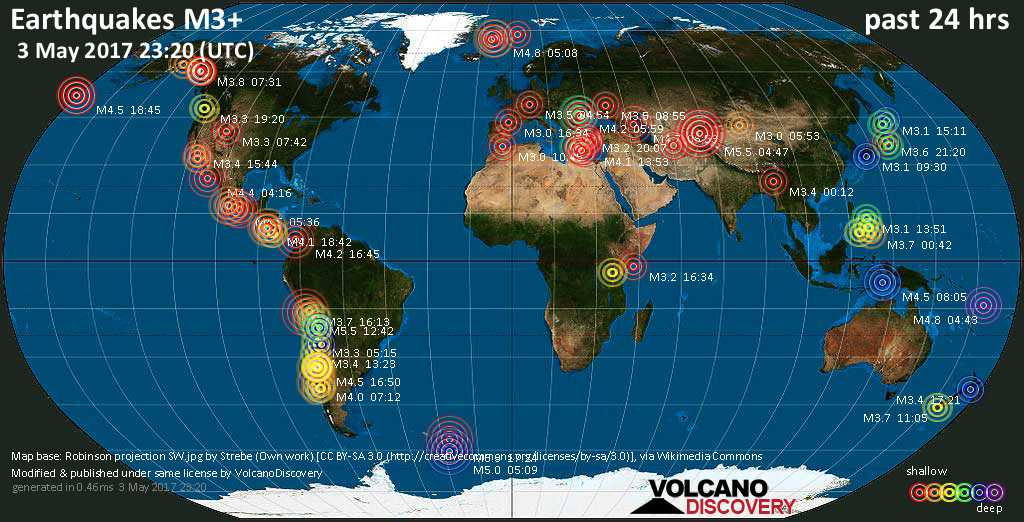 World map showing earthquakes above magnitude 3 during the past 24 hours on  3 May 2017