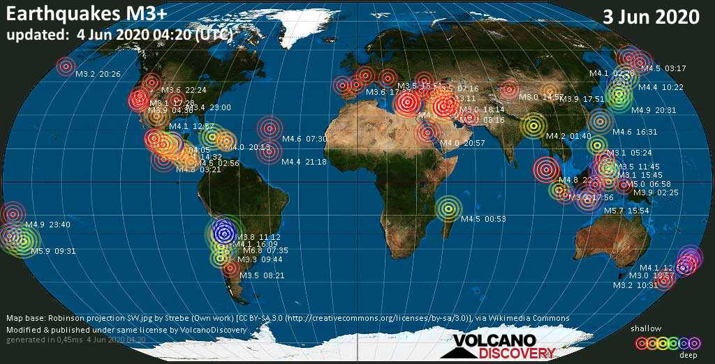 World map showing earthquakes above magnitude 3 during the past 24 hours on  4 Jun 2020