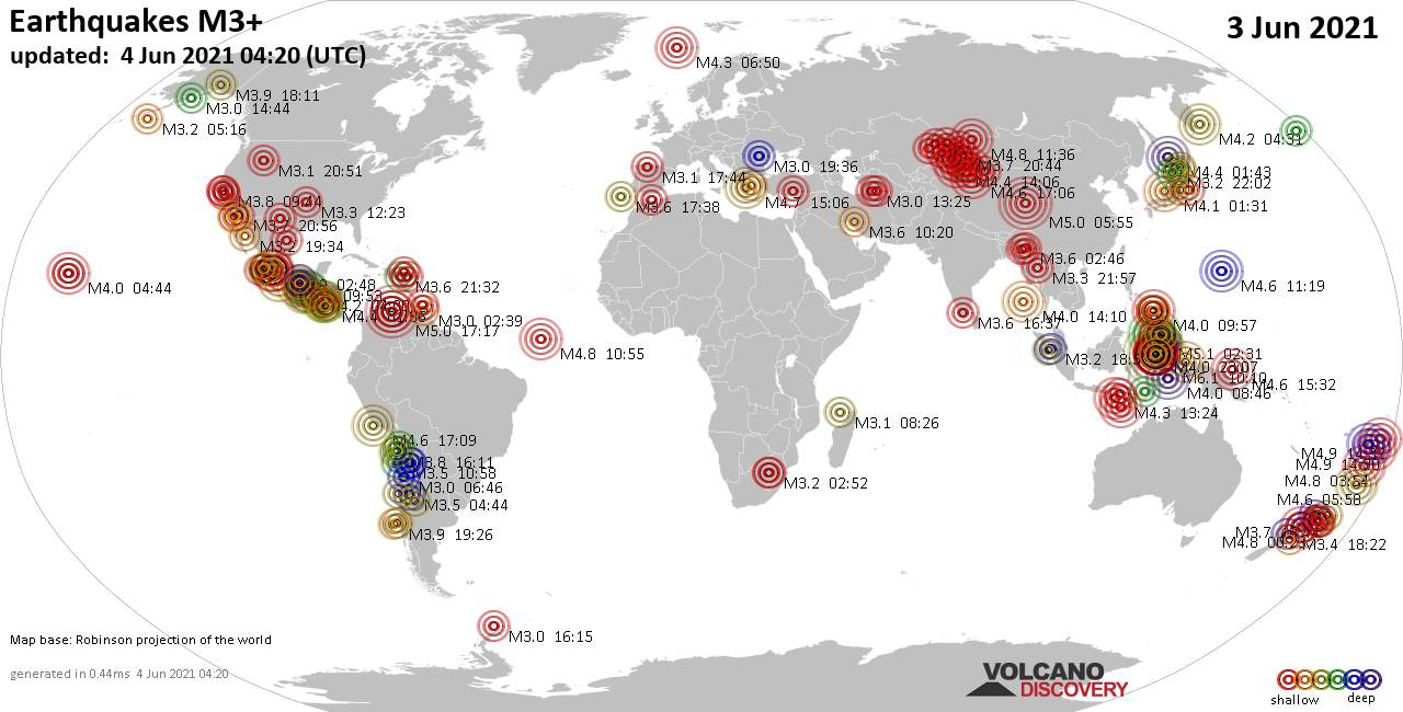 Worldwide earthquakes above magnitude 3 during the past 24 hours on  4 Jun 2021