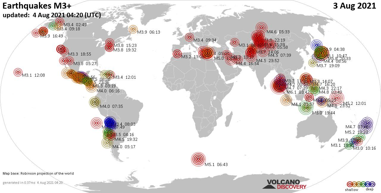 Worldwide earthquakes above magnitude 3 during the past 24 hours on  3 Aug 2021