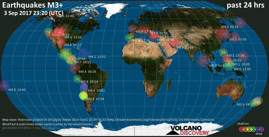 World map showing earthquakes above magnitude 3 during the past 24 hours on  3 Sep 2017