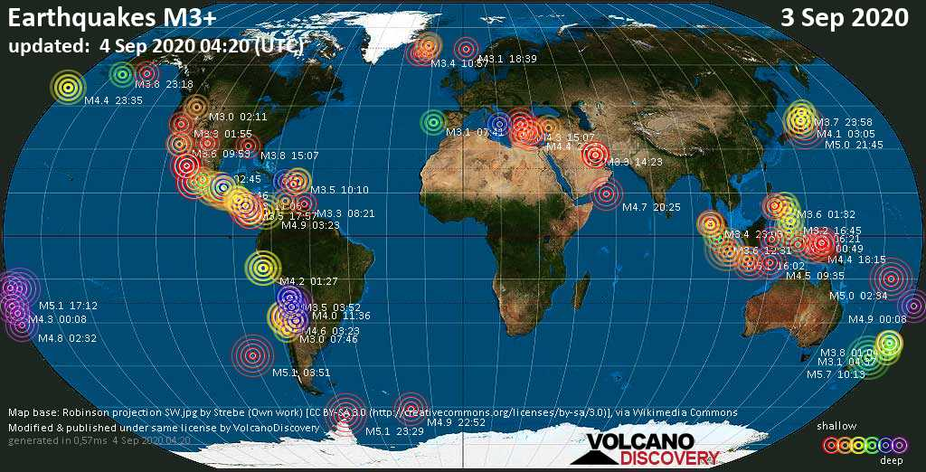 Worldwide earthquakes above magnitude 3 during the past 24 hours on  4 Sep 2020