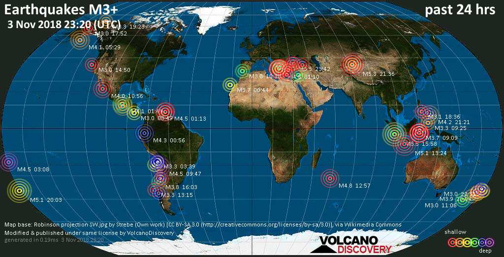 World map showing earthquakes above magnitude 3 during the past 24 hours on  3 Nov 2018