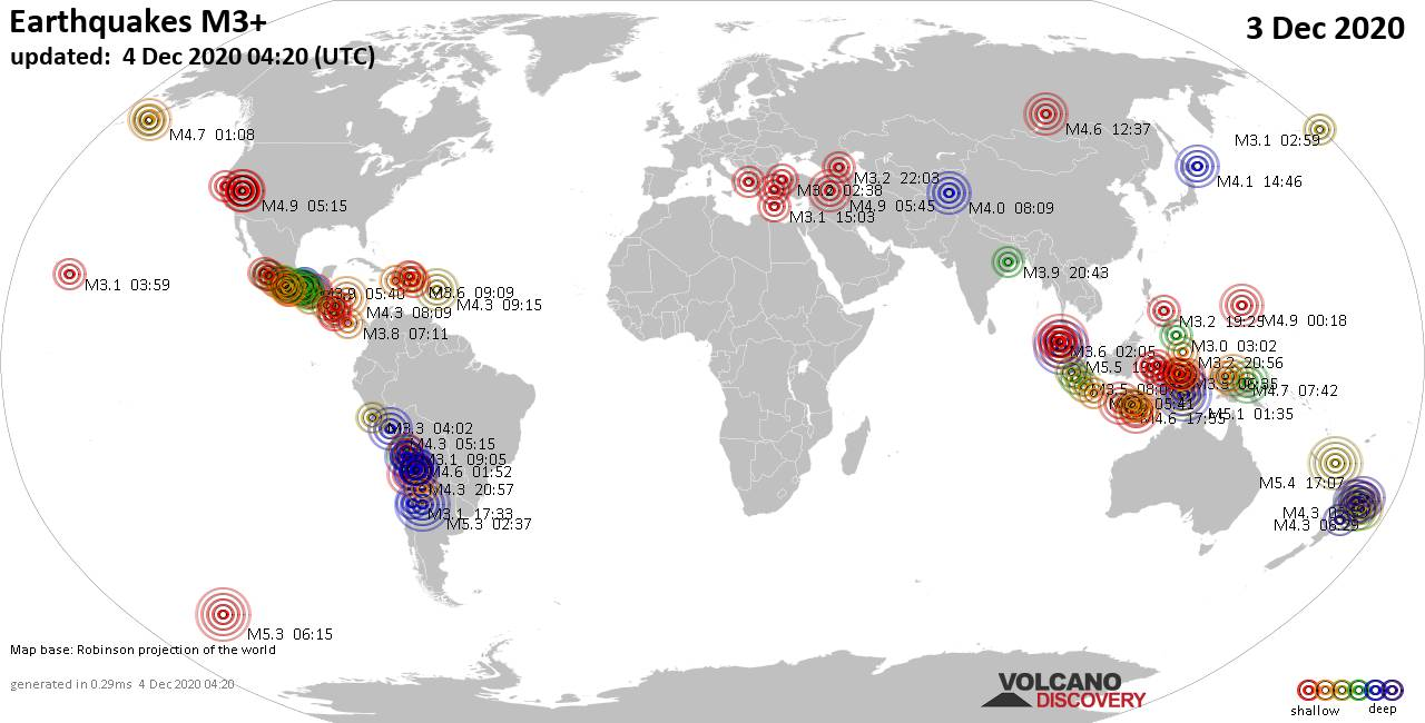 Worldwide earthquakes above magnitude 3 during the past 24 hours on  4 Dec 2020