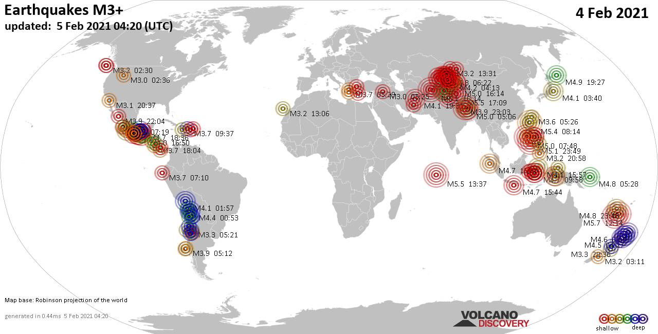 Worldwide earthquakes above magnitude 3 during the past 24 hours on  5 Feb 2021