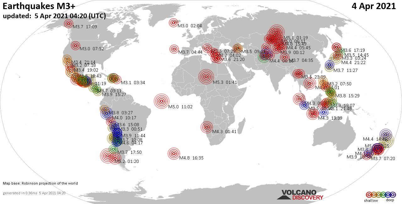 Worldwide earthquakes above magnitude 3 during the past 24 hours on  5 Apr 2021