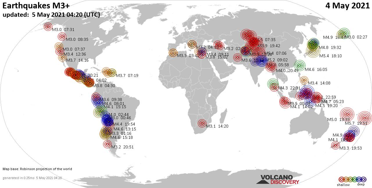 Worldwide earthquakes above magnitude 3 during the past 24 hours on  4 May 2021