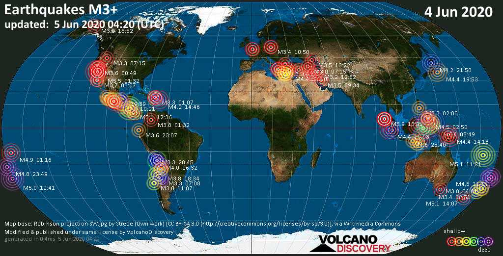 World map showing earthquakes above magnitude 3 during the past 24 hours on  5 Jun 2020