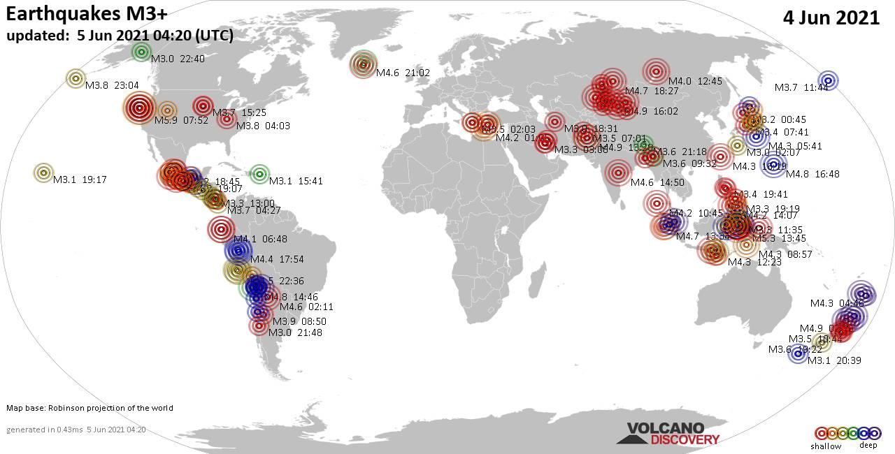 Weltkarte mit Erdbeben über Magnitude 3 während den letzten 24 Stunden past 24 hours am  5. Juni 2021