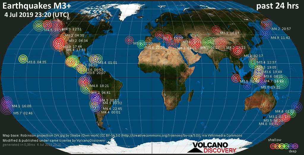 World map showing earthquakes above magnitude 3 during the past 24 hours on  4 Jul 2019
