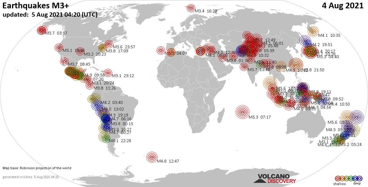 Weltkarte mit Erdbeben über Magnitude 3 während den letzten 24 Stunden past 24 hours am  5. August 2021