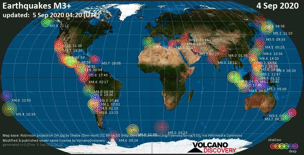 Worldwide earthquakes above magnitude 3 during the past 24 hours on  5 Sep 2020