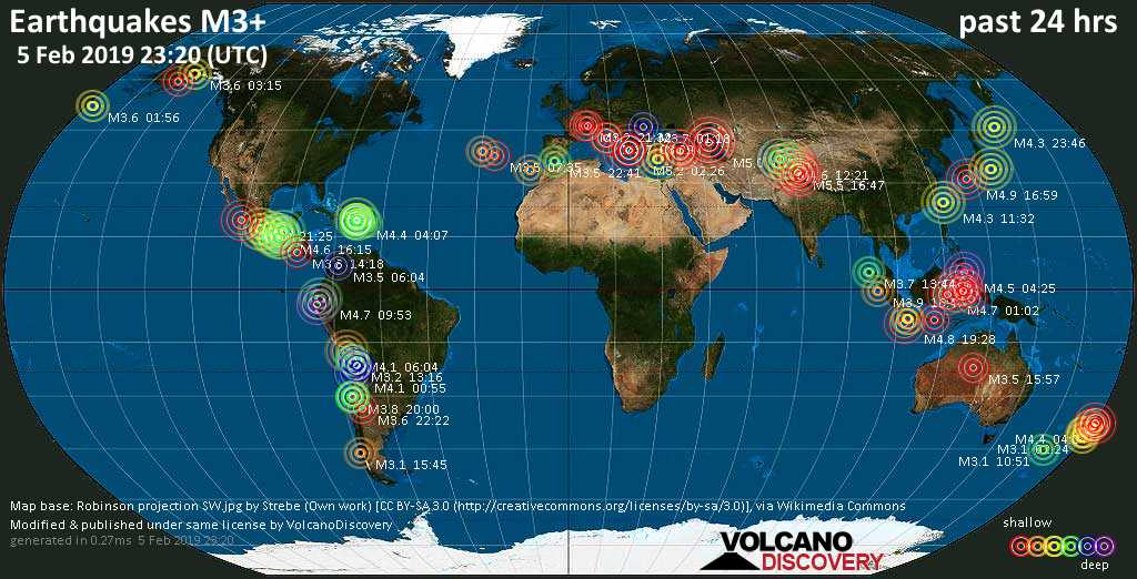 World map showing earthquakes above magnitude 3 during the past 24 hours on  5 Feb 2019