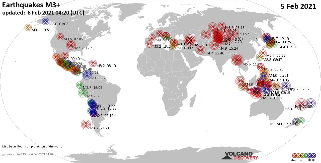 Worldwide earthquakes above magnitude 3 during the past 24 hours on  6 Feb 2021