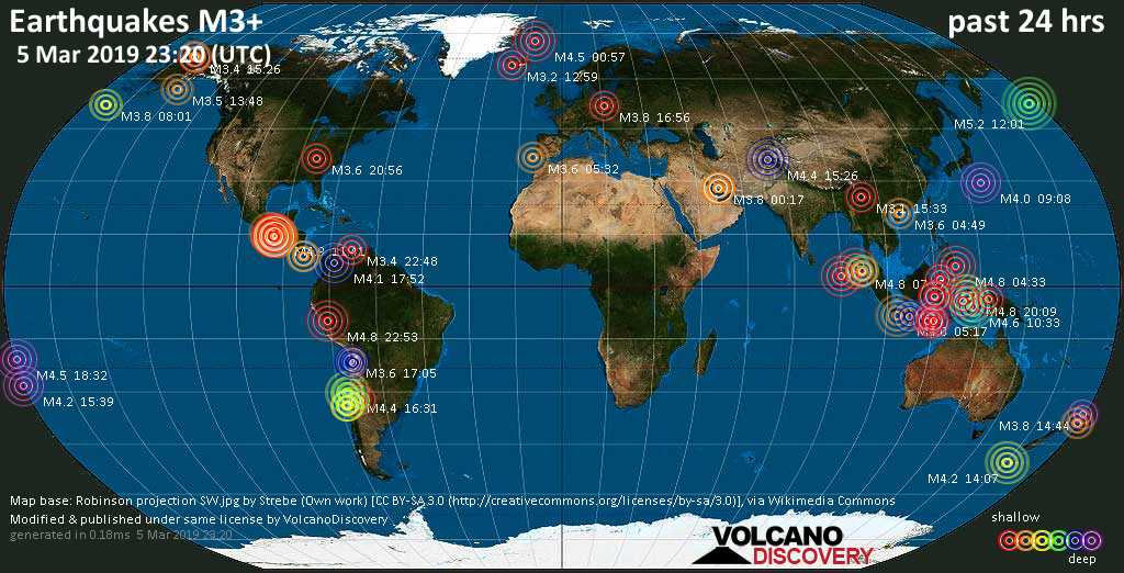 World map showing earthquakes above magnitude 3 during the past 24 hours on  5 Mar 2019