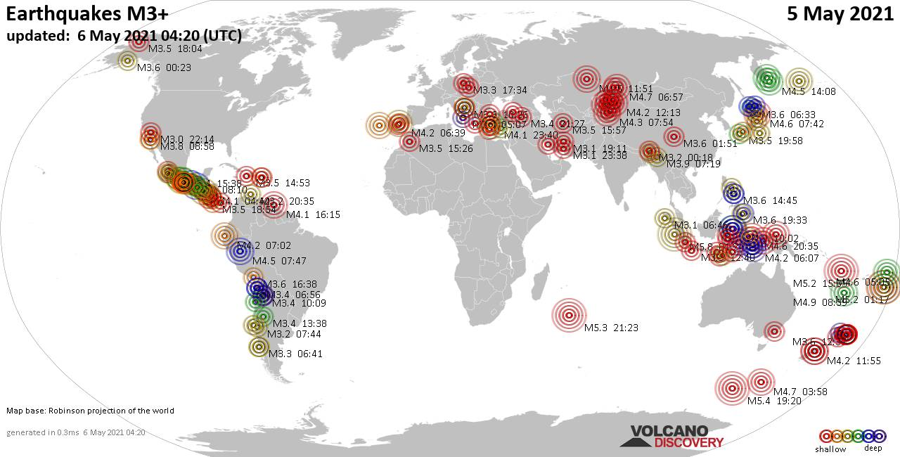 Lebih dari 3 gempa bumi global dalam 24 jam terakhir pada 6 Mei 2021