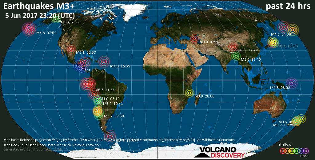 World map showing earthquakes above magnitude 3 during the past 24 hours on  5 Jun 2017
