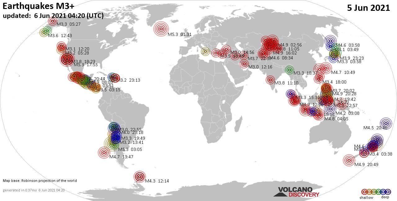 Weltkarte mit Erdbeben über Magnitude 3 während den letzten 24 Stunden past 24 hours am  6. Juni 2021