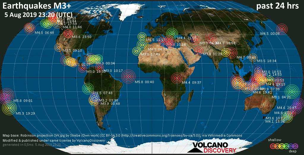 World map showing earthquakes above magnitude 3 during the past 24 hours on  5 Aug 2019