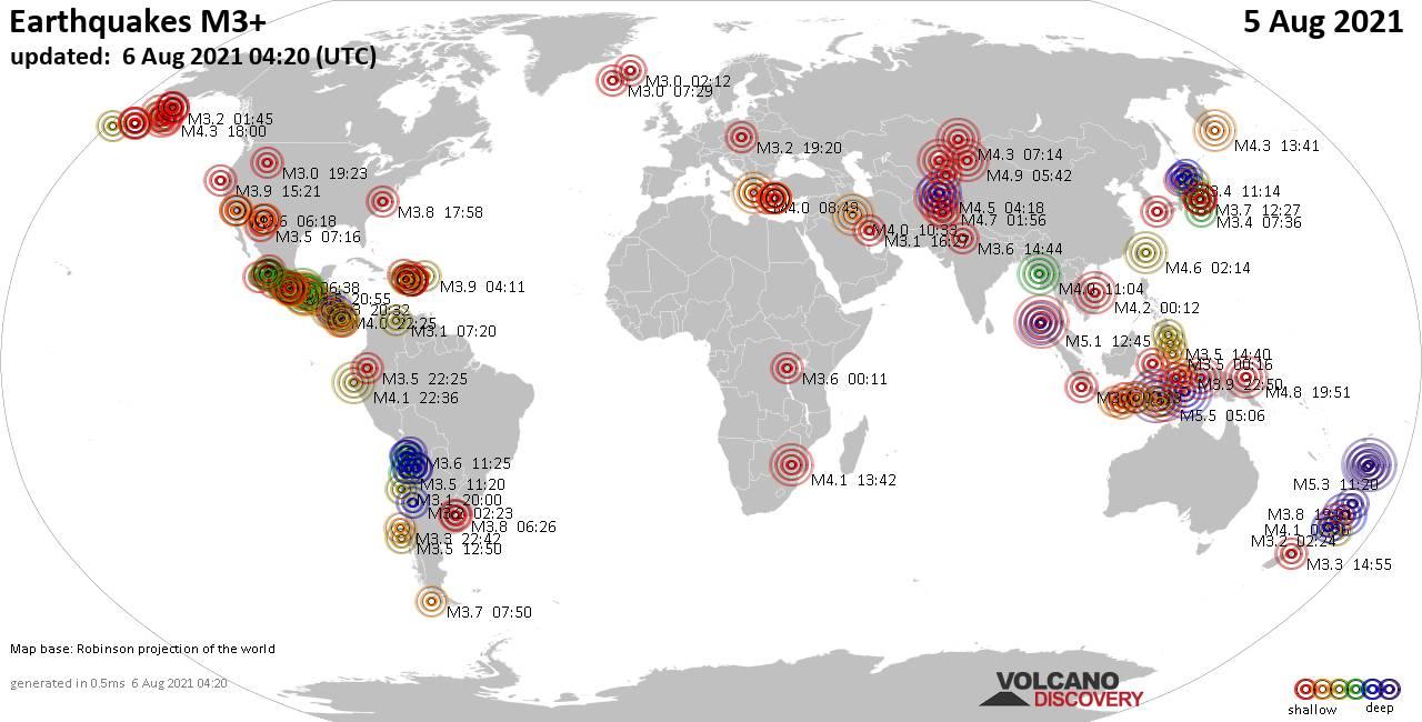 Mappa del mondo che mostra i terremoti sopra la magnitudo 3 nelle ultime 24 ore il  6 agosto 2021