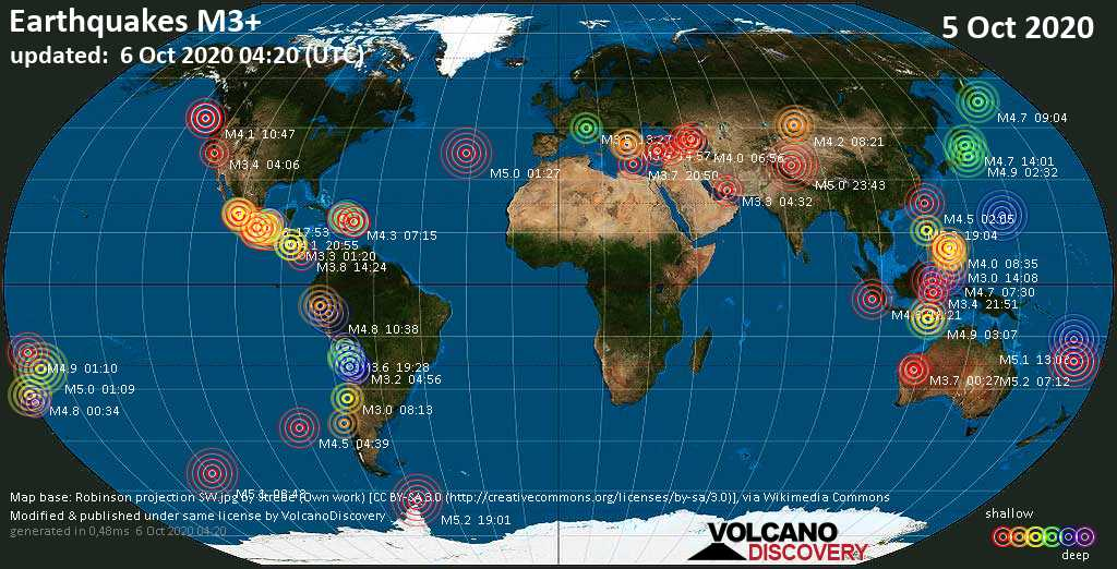 Worldwide earthquakes above magnitude 3 during the past 24 hours on  6 Oct 2020