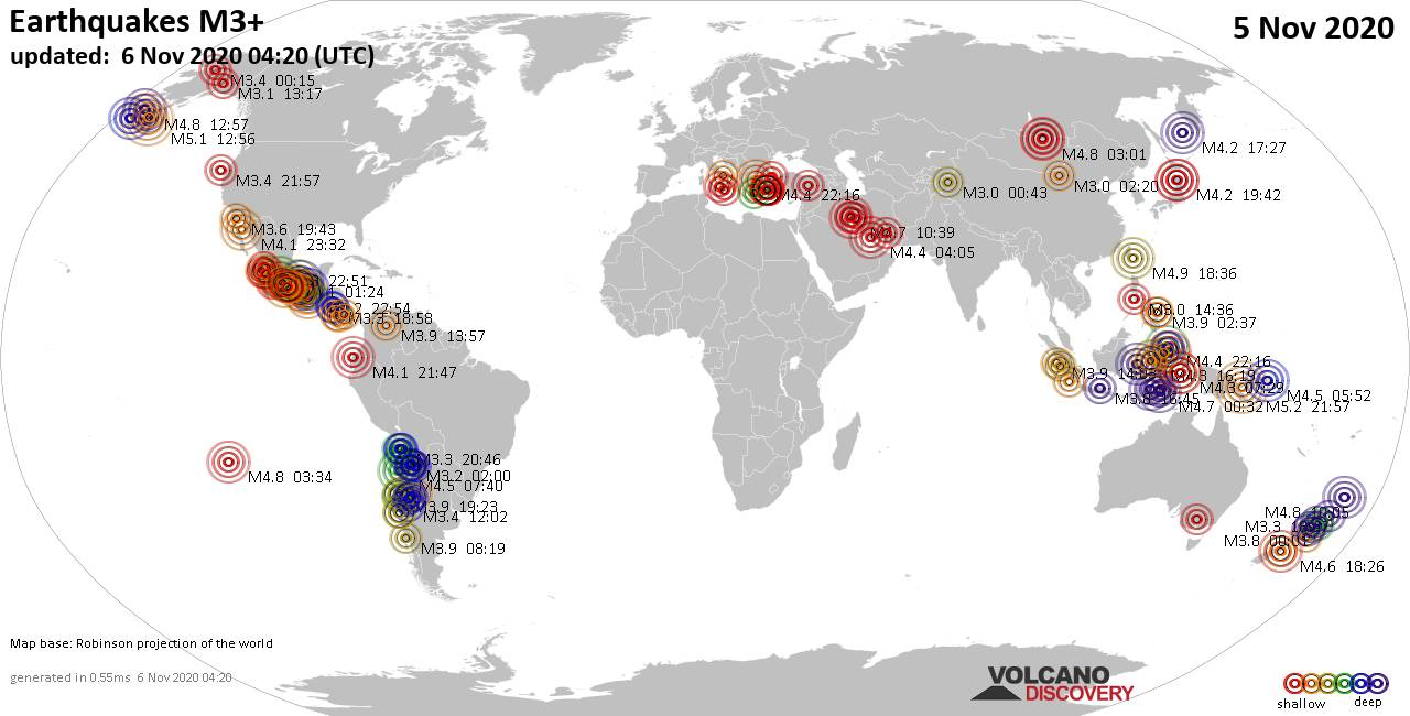 Worldwide earthquakes above magnitude 3 during the past 24 hours on  6 Nov 2020