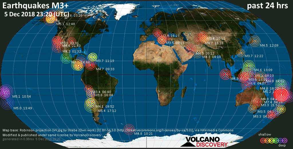 World map showing earthquakes above magnitude 3 during the past 24 hours on  5 Dec 2018