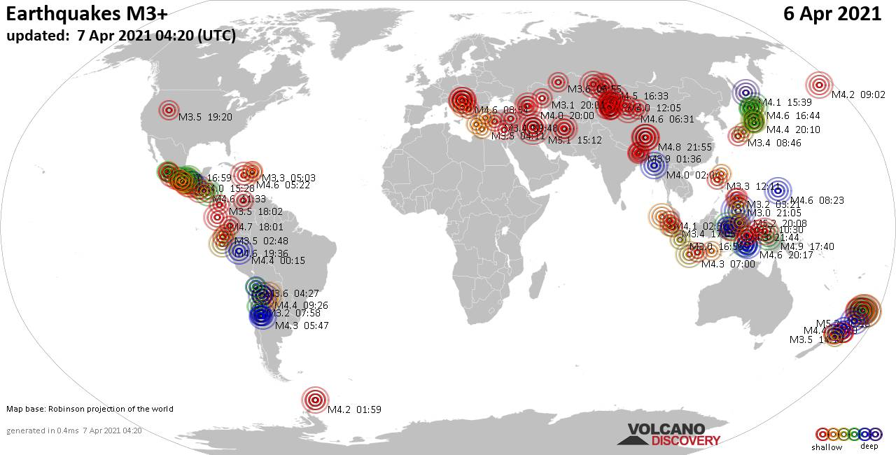 Worldwide earthquakes above magnitude 3 during the past 24 hours on  7 Apr 2021