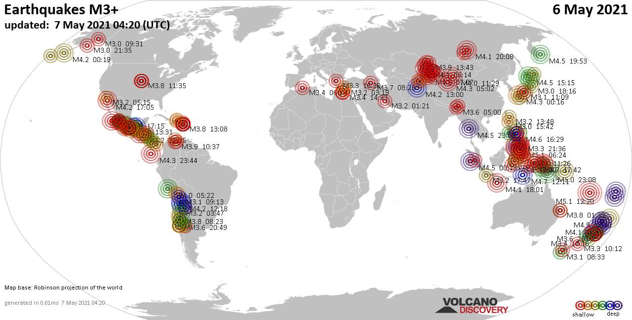Worldwide earthquakes above magnitude 3 during the past 24 hours on  6 May 2021