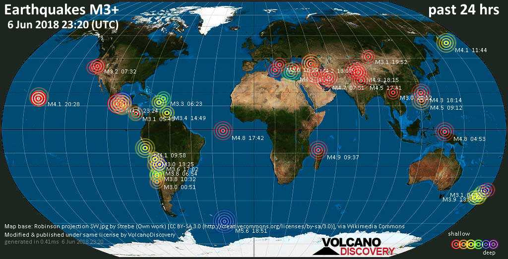 World map showing earthquakes above magnitude 3 during the past 24 hours on  6 Jun 2018