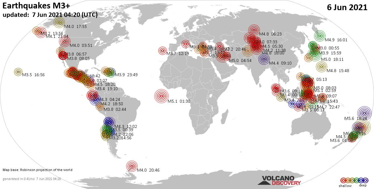 Worldwide earthquakes above magnitude 3 during the past 24 hours on  7 Jun 2021