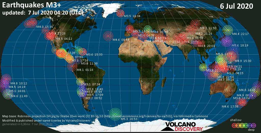 World map showing earthquakes above magnitude 3 during the past 24 hours on  7 Jul 2020
