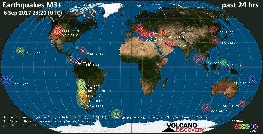 World map showing earthquakes above magnitude 3 during the past 24 hours on  6 Sep 2017