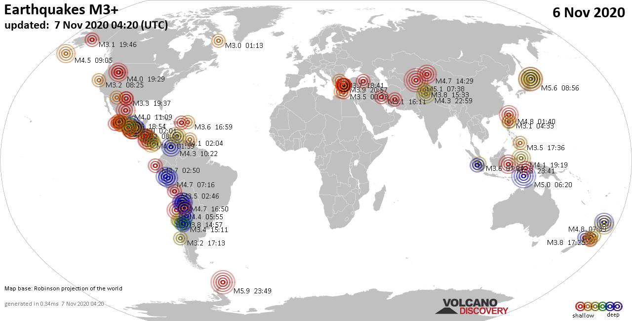Worldwide earthquakes above magnitude 3 during the past 24 hours on  7 Nov 2020