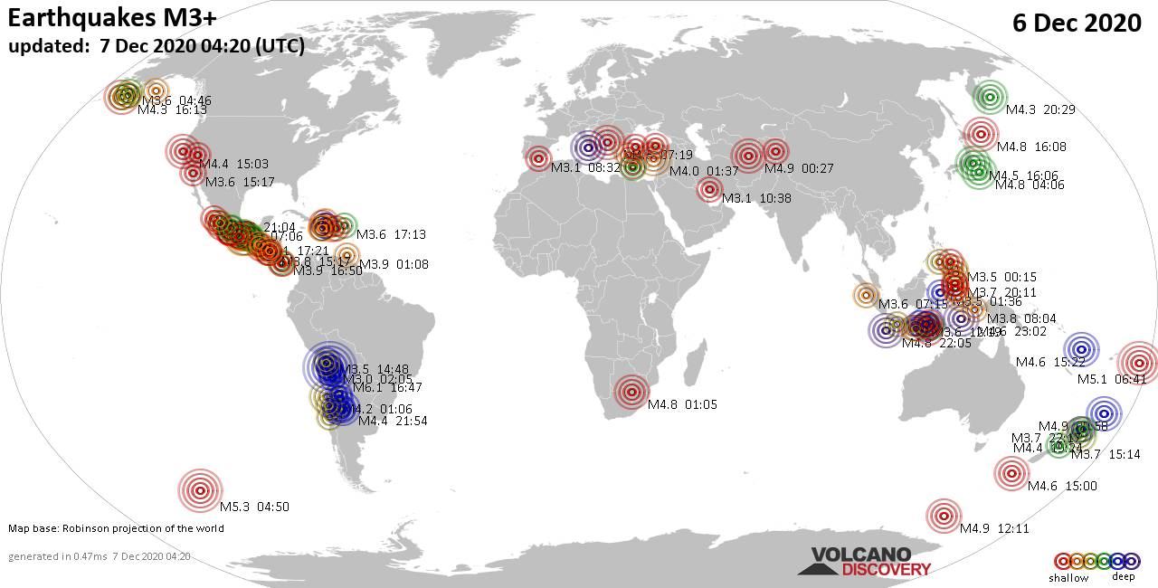 Worldwide earthquakes above magnitude 3 during the past 24 hours on  7 Dec 2020