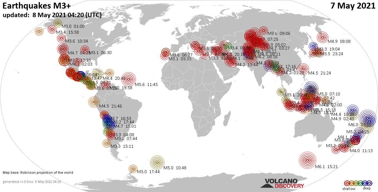 Terremotos de magnitud 3 o superior que ocurrieron a nivel mundial en las últimas 24 horas el 8 de mayo de 2021
