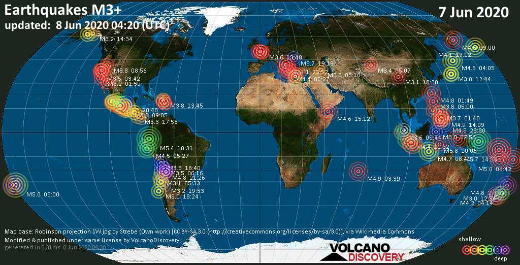 World map showing earthquakes above magnitude 3 during the past 24 hours on  8 Jun 2020