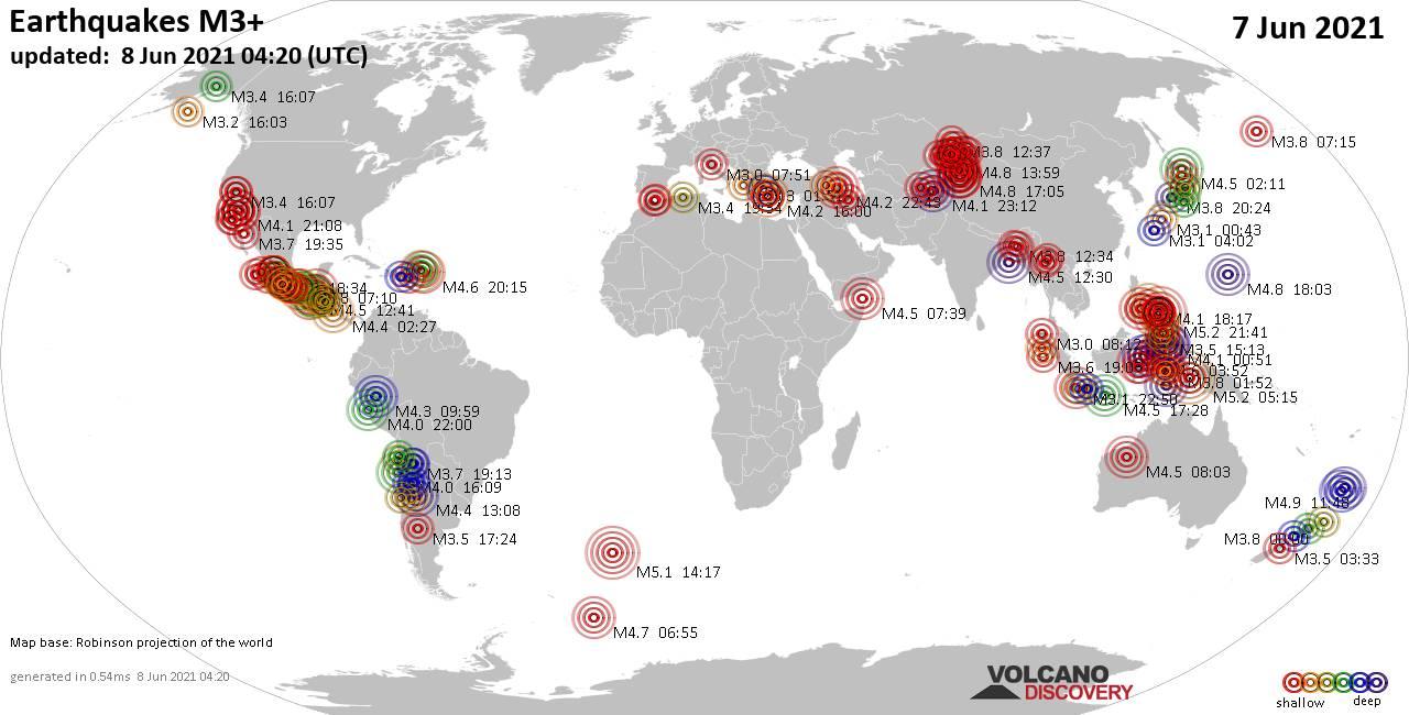 Weltkarte mit Erdbeben über Magnitude 3 während den letzten 24 Stunden past 24 hours am  8. Juni 2021