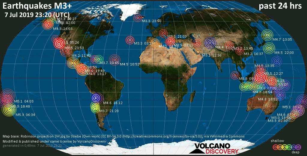 Weltkarte mit Erdbeben über Magnitude 3 während den letzten 24 Stunden past 24 hours am  7. Juli 2019