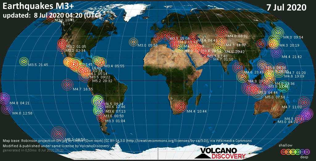 World map showing earthquakes above magnitude 3 during the past 24 hours on  8 Jul 2020