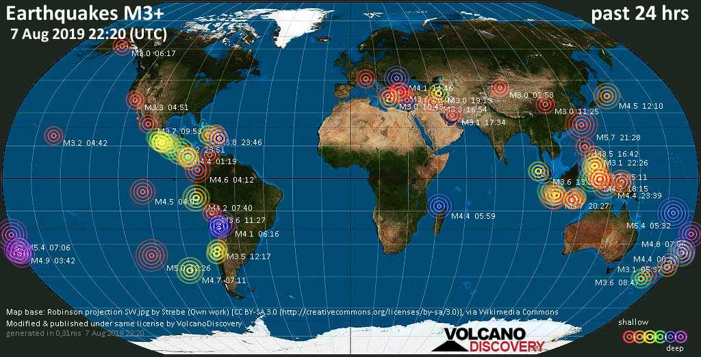 World map showing earthquakes above magnitude 3 during the past 24 hours on  7 Aug 2019