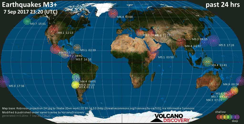 World map showing earthquakes above magnitude 3 during the past 24 hours on  7 Sep 2017