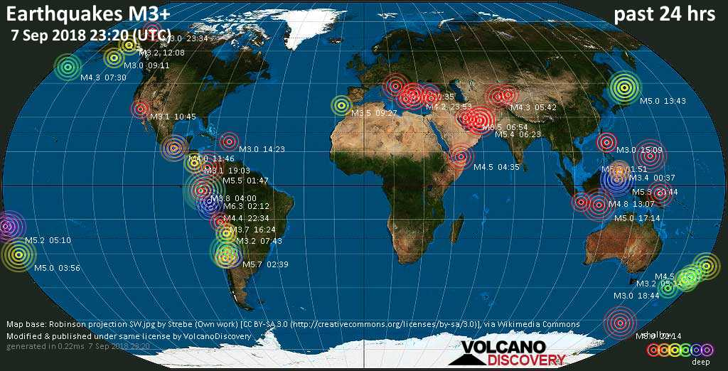 World map showing earthquakes above magnitude 3 during the past 24 hours on  7 Sep 2018