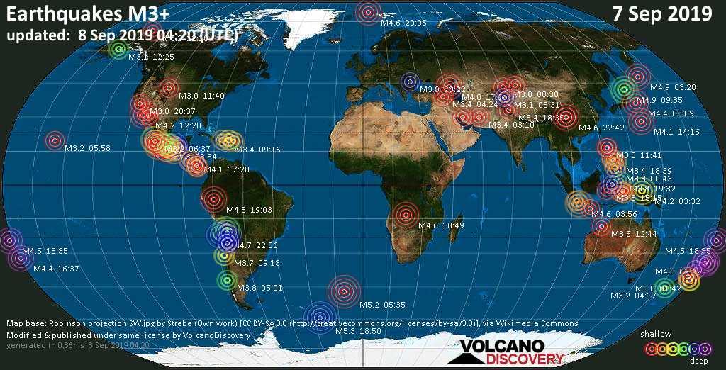 Weltkarte mit Erdbeben über Magnitude 3 während den letzten 24 Stunden past 24 hours am  8. September 2019