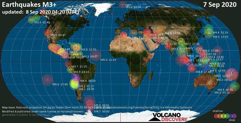 World Earthquake Report for Monday,  7 September 2020 / VolcanoDiscovery