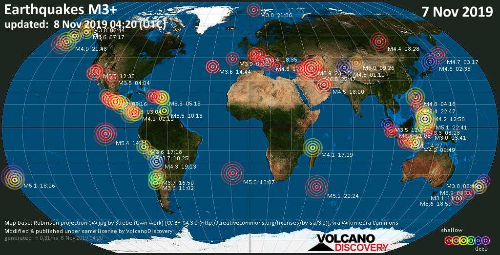 World map showing earthquakes above magnitude 3 during the past 24 hours on  8 Nov 2019