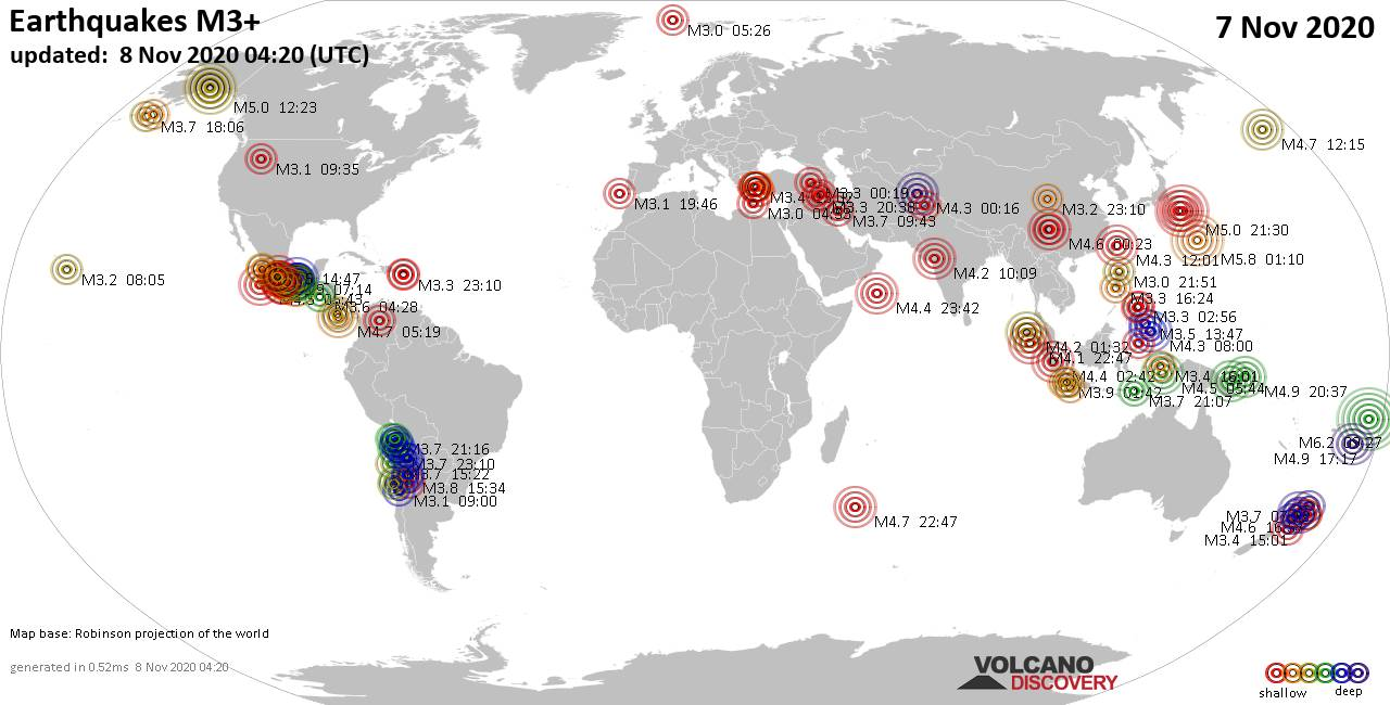 Worldwide earthquakes above magnitude 3 during the past 24 hours on  8 Nov 2020