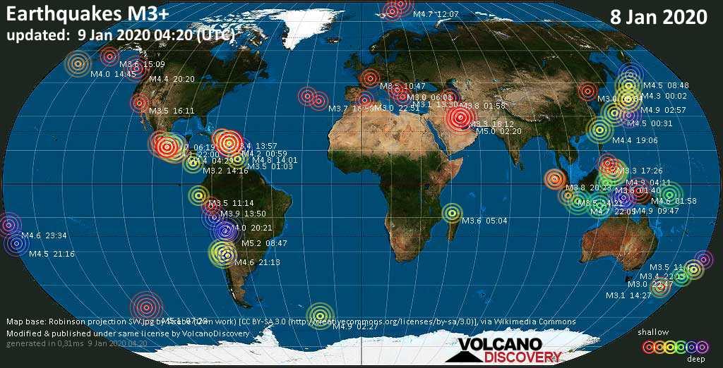 Mapa mundial que muestra terremotos de magnitud 3 en las últimas 24 horas  9 enero 2020